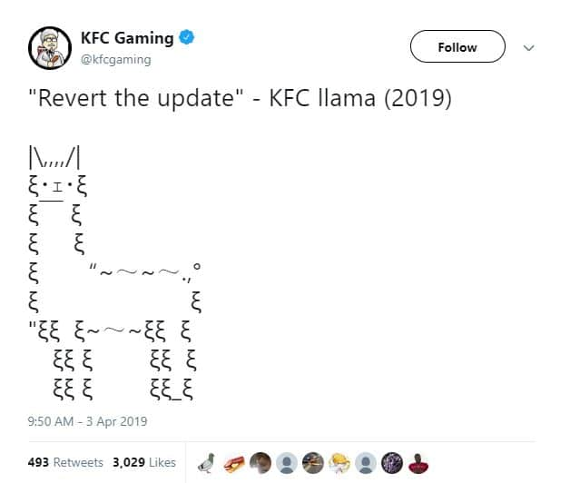 KFC Fortnite tweet to revert the update