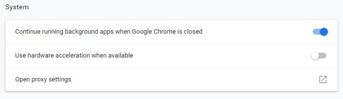 Turning hardware acceleration off in Google Chrome