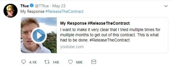 Tfue posts #ReleaseTheContract on Twitter