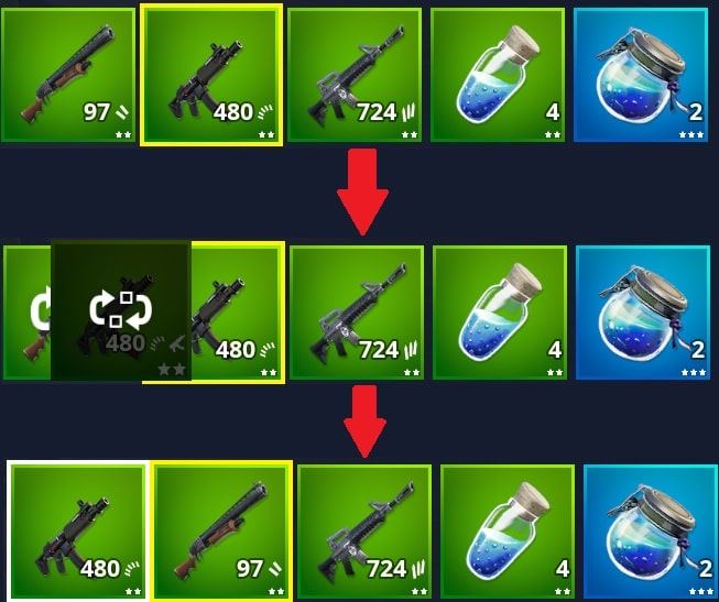 how to change the order of your Fortnite inventory