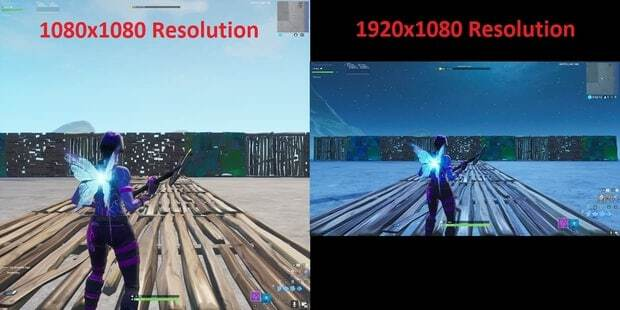 Fortnite FOV comparison 1080x1080 vs 1920x1080