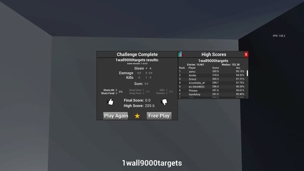 Kovaak's FPS Aim Trainer 1wall9000targets high scores