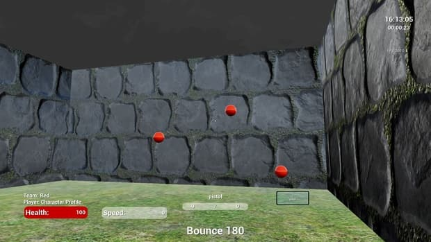 Kovaak's FPS Aim Trainer Bounce 180 cobblestone walls and grass floor