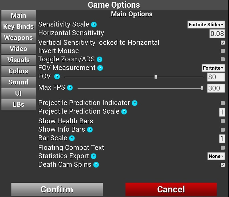 Kovaak's FPS Aim Trainer game options for Fortnite