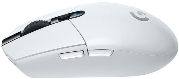 Side view of the white version of the Logitech G305 mouse