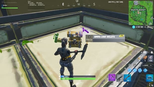 Opening a Fortnite chest to show that the weapon comes out of the right-hand side