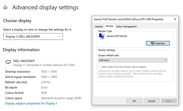 Setting screen refresh rate in advanced display settings