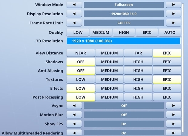 Tfue Fortnite video settings