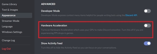 Turning hardware acceleration off in Discord