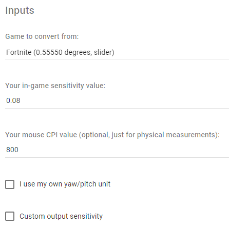 Entering Fortnite sensitivity into online sensitivity converter calculator