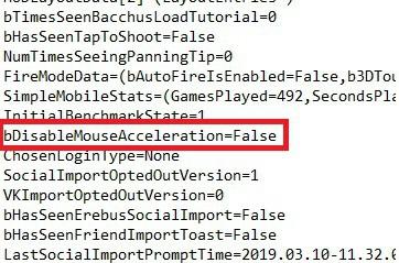 Fortnite DisableMouseAcceleration=False