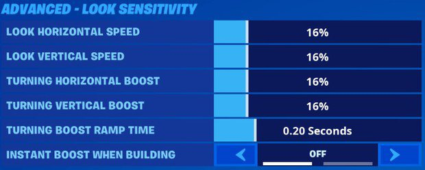 Fortnite advanced look sensitivity for controller players