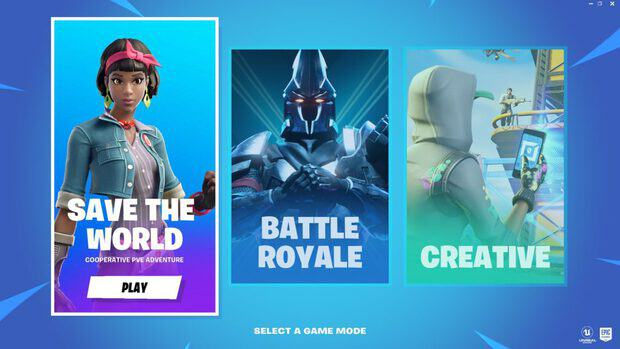 """Selecting Fortnite Save the World from """"Select a Game Mode"""" screen"""