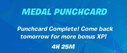 A completed medal punchcard in Fortnite and the message to come back tomorrow for more bonus XP