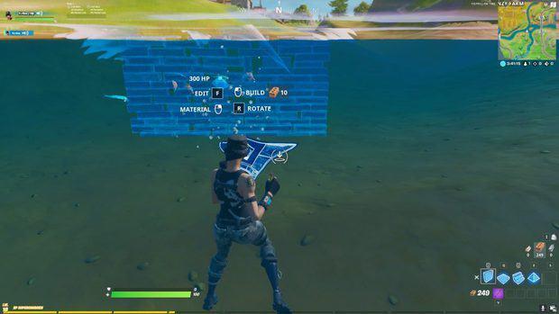 Building underwater in Fortnite