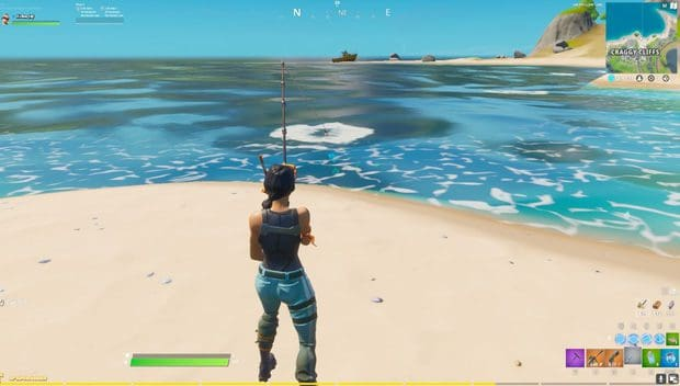 Casting a fishing rod in Fortnite at Craggy Cliffs