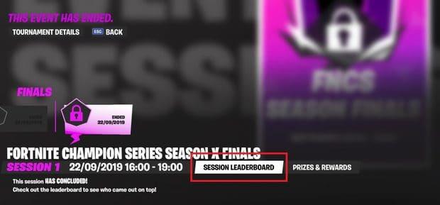 Fortnite champion series X finals session leaderboard