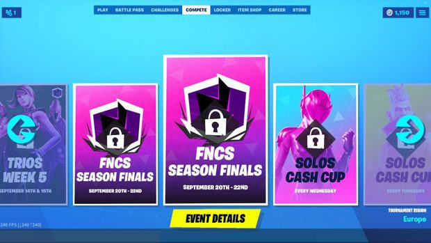 Fortnite compete tab showing past tournaments