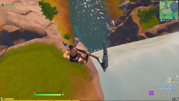 Looking down at the waterfall at Gorgeous Grove in Fortnite
