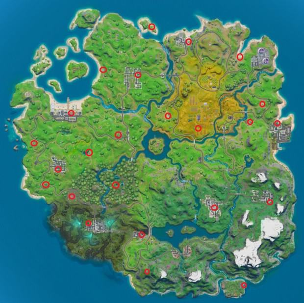 Map of weapon upgrade bench locations in Fortnite chapter 2