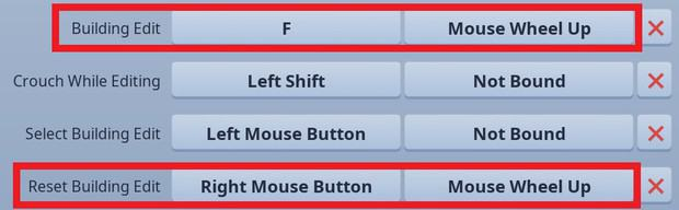 Setting up scroll wheel reset in the Fortnite keybinds settings