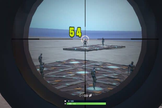 Shooting a bot in the head using a scoped assault rifle