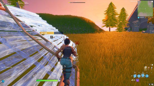 Building sideways ramps in Fortnite by rotating the stairs to protect the left side