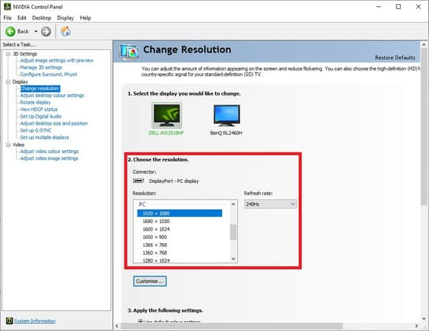 Choosing 1920 x 1080 resolution in the NVIDIA control panel