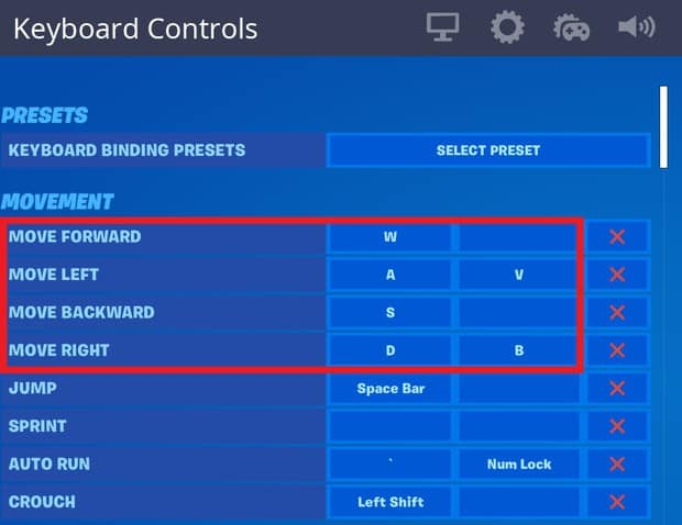 Setting up double movement keybinds in the Fortnite settings