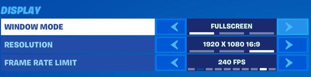 Setting window mode to fullscreen in Fortnite settings