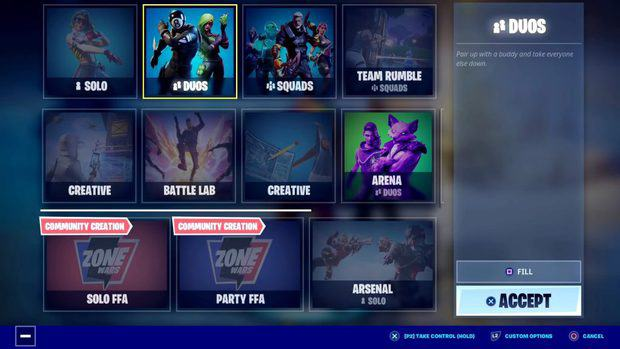 An image of the game mode selection screen showing only duos and squads is available in split screen mode