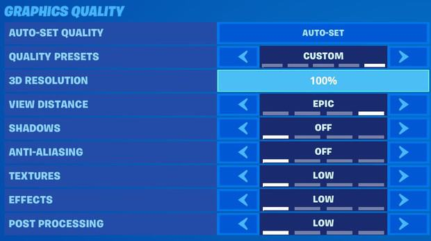Fortnite graphics quality settings for high FPS, view distance epic, shadows off, anti-aliasing off, textures low, effects low, post processing low