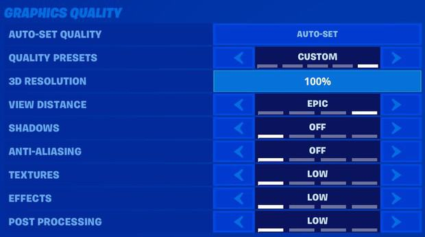 Mongraal Fortnite graphics quality settings