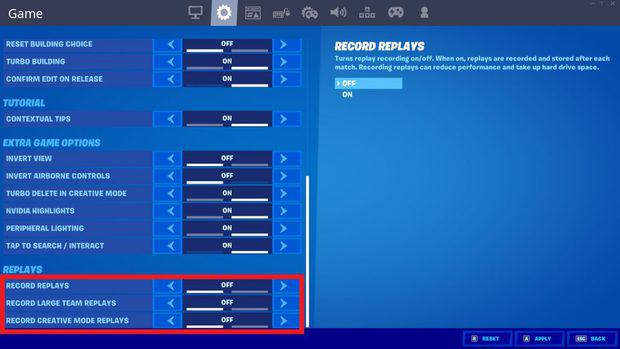 Turning record replays off in the Fortnite game settings to improve performance