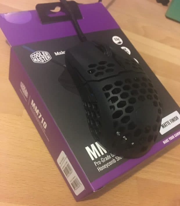Cooler Master MM710 mouse on top of the box