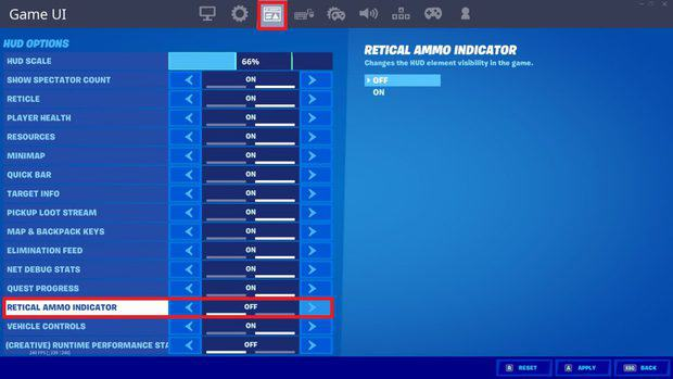 Turning off reticle ammo indicator in Fortnite game UI settings