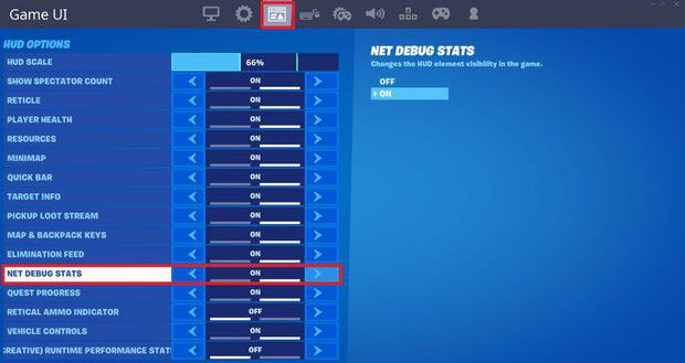Turning on net debug stats in Fortnite Chapter 2 to show ping during game