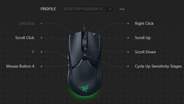 Changing side mouse button to F using gaming mouse software