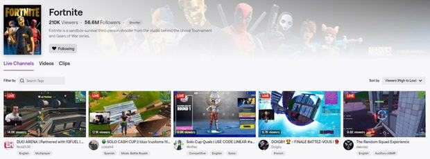 Fortnite's directory page on Twitch