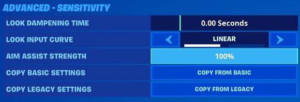 Fortnite advanced sensitivity settings for controller