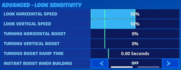 Fortnite advanced look sensitivity settings for controller