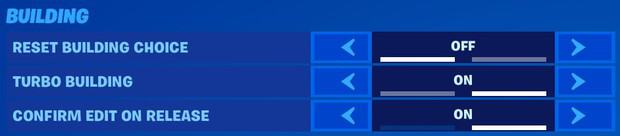 Fortnite building settings, reset building choice off, turbo building on, confirm edit on release on