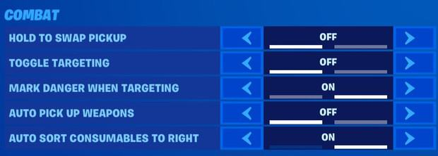 Fortnite combat settings, hold to swap pickup off, toggle targeting off, mark danger when targeting on, auto pick up weapons off, auto sort consumables to right on