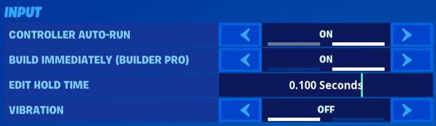 Fortnite controller input settings