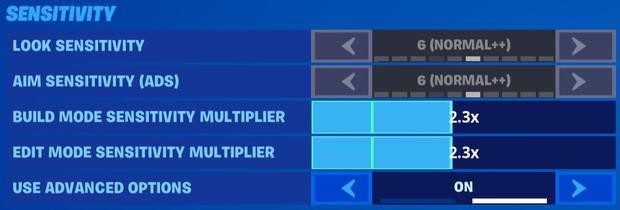 Fortnite controller sensitivity settings