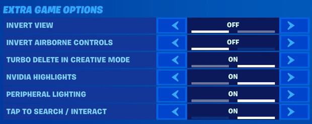 Fortnite extra game options, invert view off, invert airborne controls off, turbo delete in creative mode on, nvidia highlights on, peripheral lighting on, tap to search/interact on
