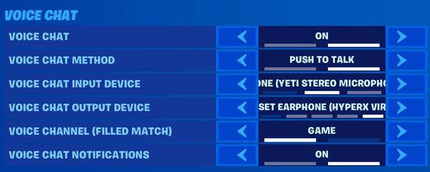 Fortnite voice chat settings