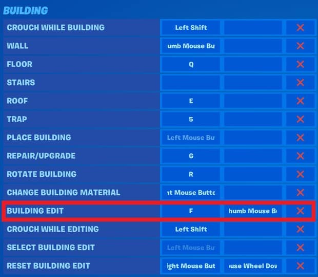 Setting up double edit keybinds in Fortnite