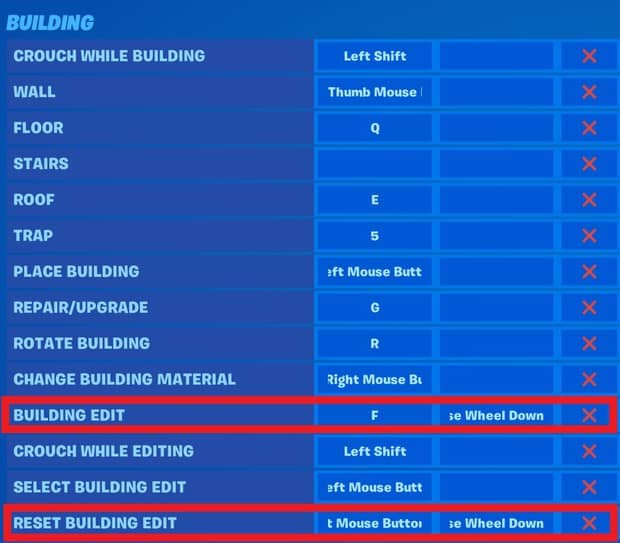 Setting up scroll wheel reset with double edit keybinds