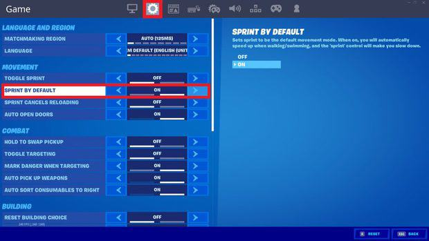 Turning on sprint by default in the Fortnite game settings
